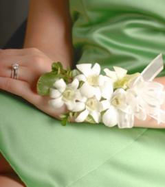 White Dendrobium Orchid Corsage