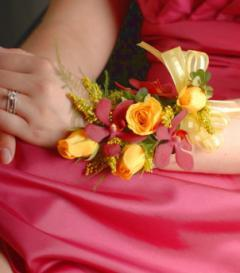 Yellow Rose & Red Mokara Orchid Corsage