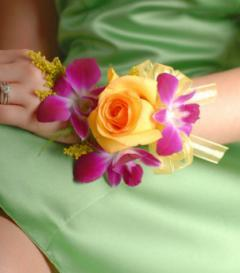 Yellow Rose & Purple Dendrobium Orchid Corsage