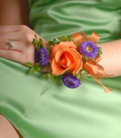 Orange Rose & Purple Aster Corsage