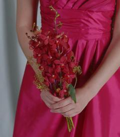 photo of Red Mokara Bridesmaid Bouquet