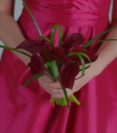 Bugundy Calla Lily Bridesmaid Bouquet