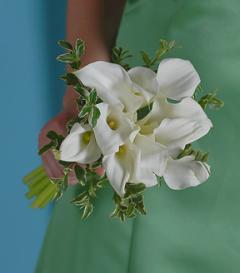 photo of White Calla Lily Bridesmaid Bouquet