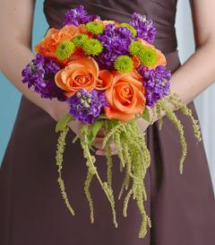 photo of Orange Rose & Purple Stock Bridesmaid Bouquet