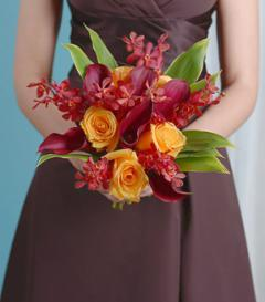 photo of Burgundy Calla Lily & Yellow Rose Bridesmaid Bouquet