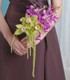 Purple & Green Orchid Bridesmaid Bouquet