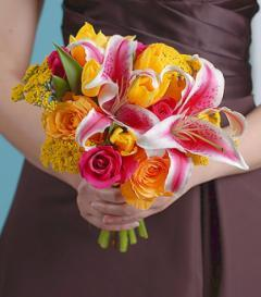 photo of Stargazer Lily & Yellow Rose Bridesmaid Bouquet