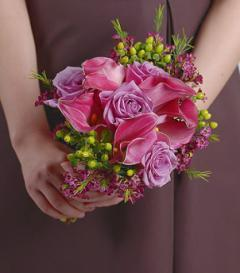 Purple Calla Lily & Lavender Rose Bridesmaid Bouquet