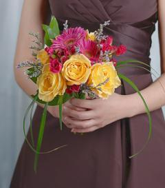 Yellow Rose & Pink Gerbera Bridesmaid Bouquet