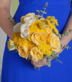Yellow & White Rose Bridesmaid Bouquet