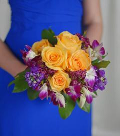 Yellow Rose & Purple Orchid Bridesmaid Bouquet