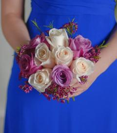 photo of Lavender & White Rose Bridesmaid Bouquet