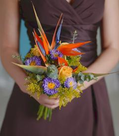 Birds of Paradise & Yellow Rose Bridesmaid Bouquet