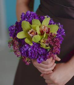 photo of Green Orchid & Purple Stock Bridesmaid Bouquet