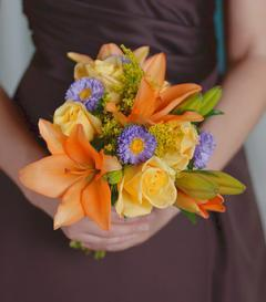 Yellow Rose & Orange Lily Bridesmaid Bouquet
