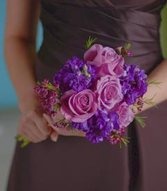 Lavender Rose & Purple Stock Bridesmaid Bouquet