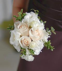 White Rose & Lisianthus Bridesmaid Bouquet