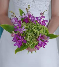 Purple Orchid & Green Hydrangea Bridal Bouquet