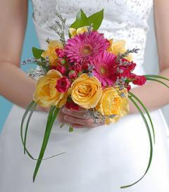 Yellow Rose & Pink Gerbera Bridal Bouquet