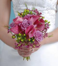 Purple Calla Lily & Lavender Rose Bridal Bouquet
