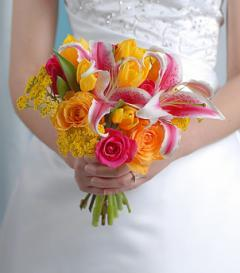 Yellow Rose & Stargazer Lily Bridal Bouquet