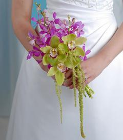 photo of Purple & Green Orchid Bridal Bouquet
