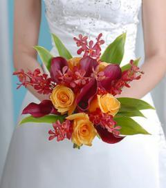 photo of Burgundy Calla Lily & Yellow Rose Bridal Bouquet
