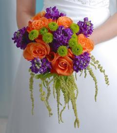 photo of Orange Rose & Purple Stock Bridal Bouquet