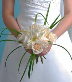photo of White Rose & Lily Bridal Bouquet