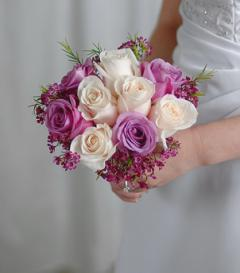 White & Lavender Rose Bridal Bouquet