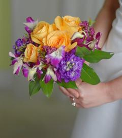 Yellow Rose & Purple Orchid Bridal Bouquet