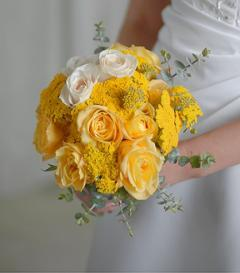 Yellow & White Rose Bridal Bouquet