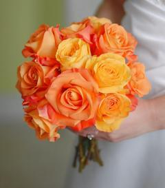 Orange & Yellow Rose Bridal Bouquet