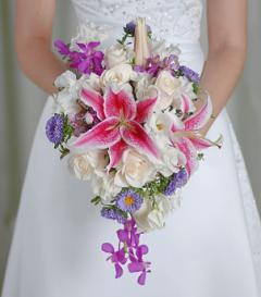 photo of White Rose & Purple Orchid Bridal Bouquet