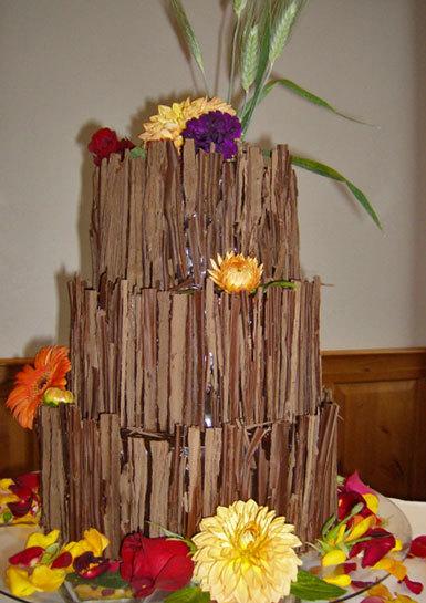 Whimsical-three-tier-chocolate-brown-wedding-cake-tree-bark-flowers.full