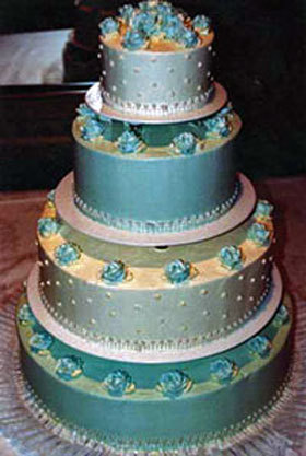 Beautiful-blue-silver-green-ivory-pretty-wedding-cake-with-blue-rosettes.full