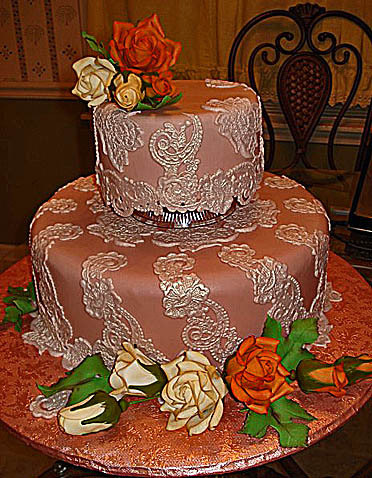 Autumn-applique-taupe-wedding-cake-white-lace-design-ivory-rust-roses.full