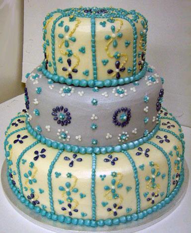 light blue and yellow wedding cakes beaded 16852