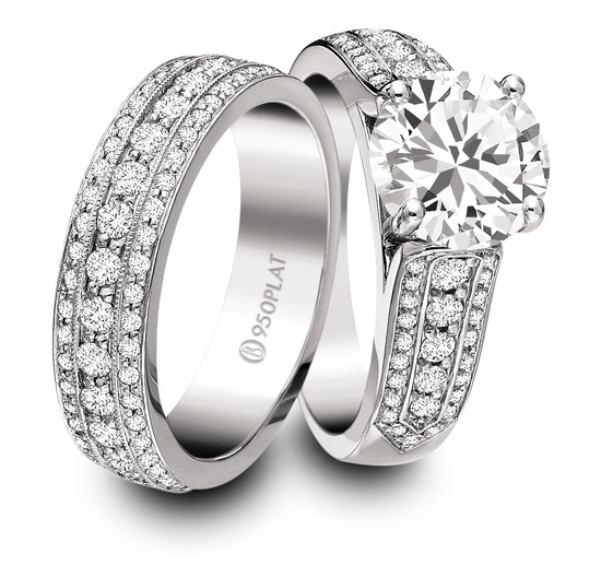 Ring Set: Precision Set, Center Diamond, Three Rows Bead Set Diamonds, Platinum