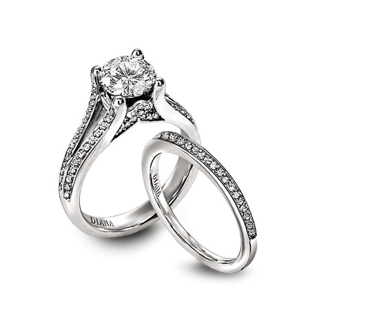 Ring Set: Diana, Round Center Diamond, Channel Set Side Diamonds, Platinum