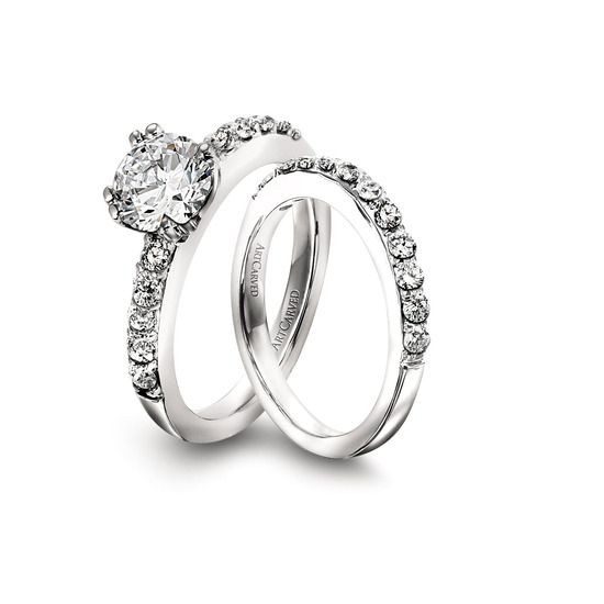 Ring Set: ArtCarved, Round Center Diamond, Prong Set Surrounding Diamonds, Platinum