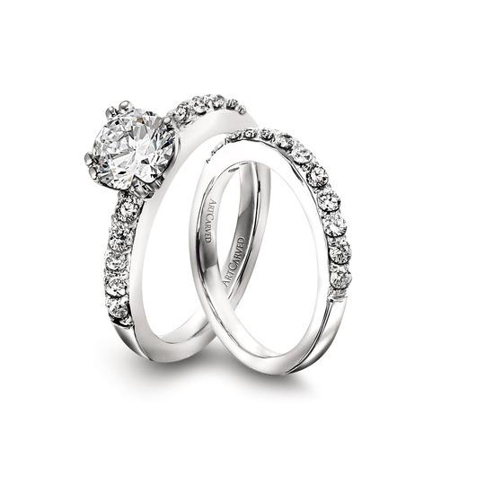 photo of Ring Set: ArtCarved, Round Center Diamond, Prong Set Surrounding Diamonds, Platinum