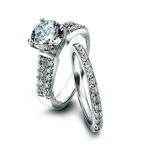 photo of Ring Set: Lieberfarb, Center Diamond, Double Row Diamonds, Platinum