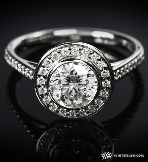 photo of Engagement Ring: WhiteFlash, Halo Prong Diamond Setting