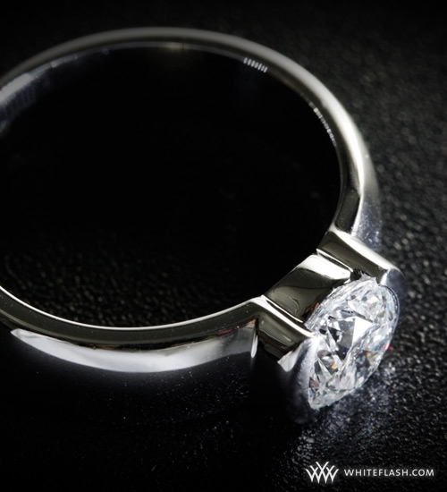 photo of Engagement Ring: WhiteFlash, Heavy Half-Bezel Comfort-Fit Diamond Setting