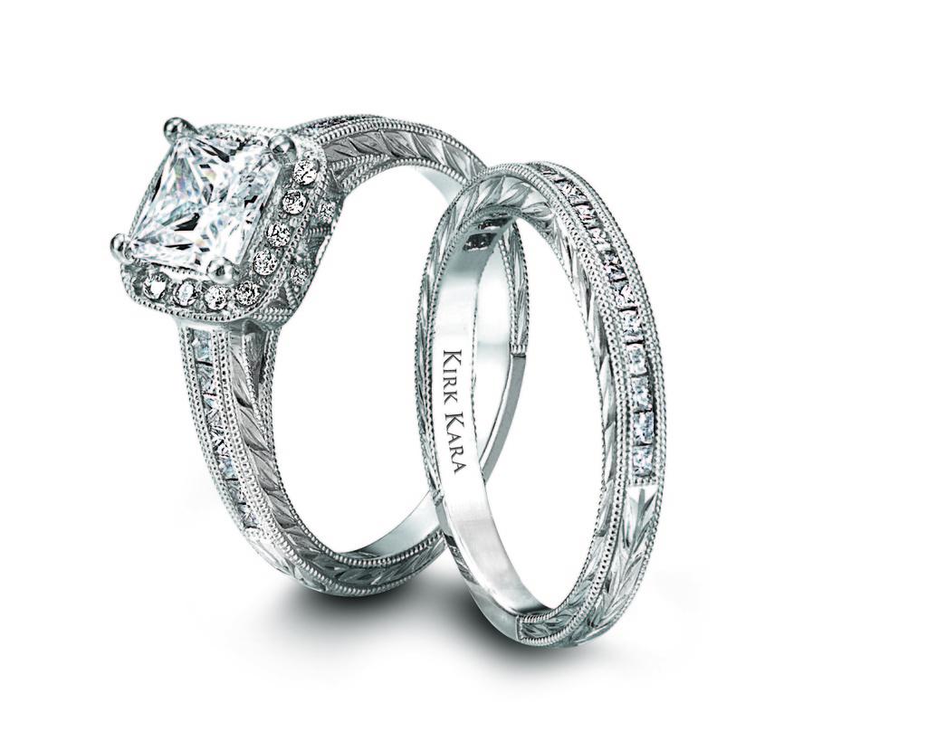 Ring Set Kirk Kara Square Cut Center Diamond Inset Stones Platinum