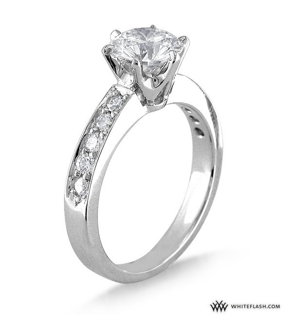 Engagement Ring: WhiteFlash, Tiffany-Style Soliaire, Bead-Set Diamond ...