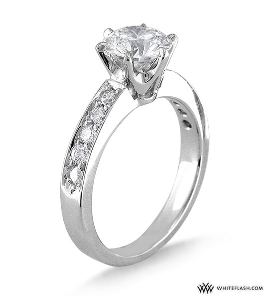 Engagement Ring: WhiteFlash, Tiffany-Style Soliaire, Bead-Set Diamond Setting