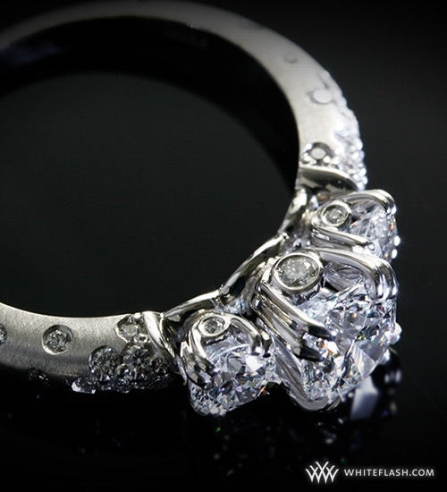 "photo of Engagement Ring: WhiteFlash, 3 Stone, ""Champagne"" Diamond Setting"