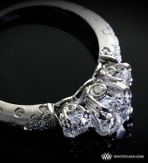 "photo of Engagement Ring: WhiteFlash, 3 Stone, ""Champagne"" Diamond Setting"